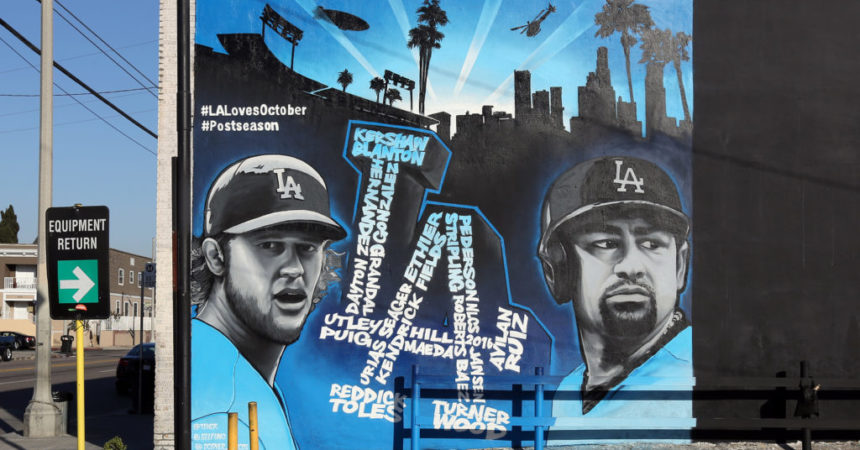 MLB Dodgers Mural Near Stadium in LA